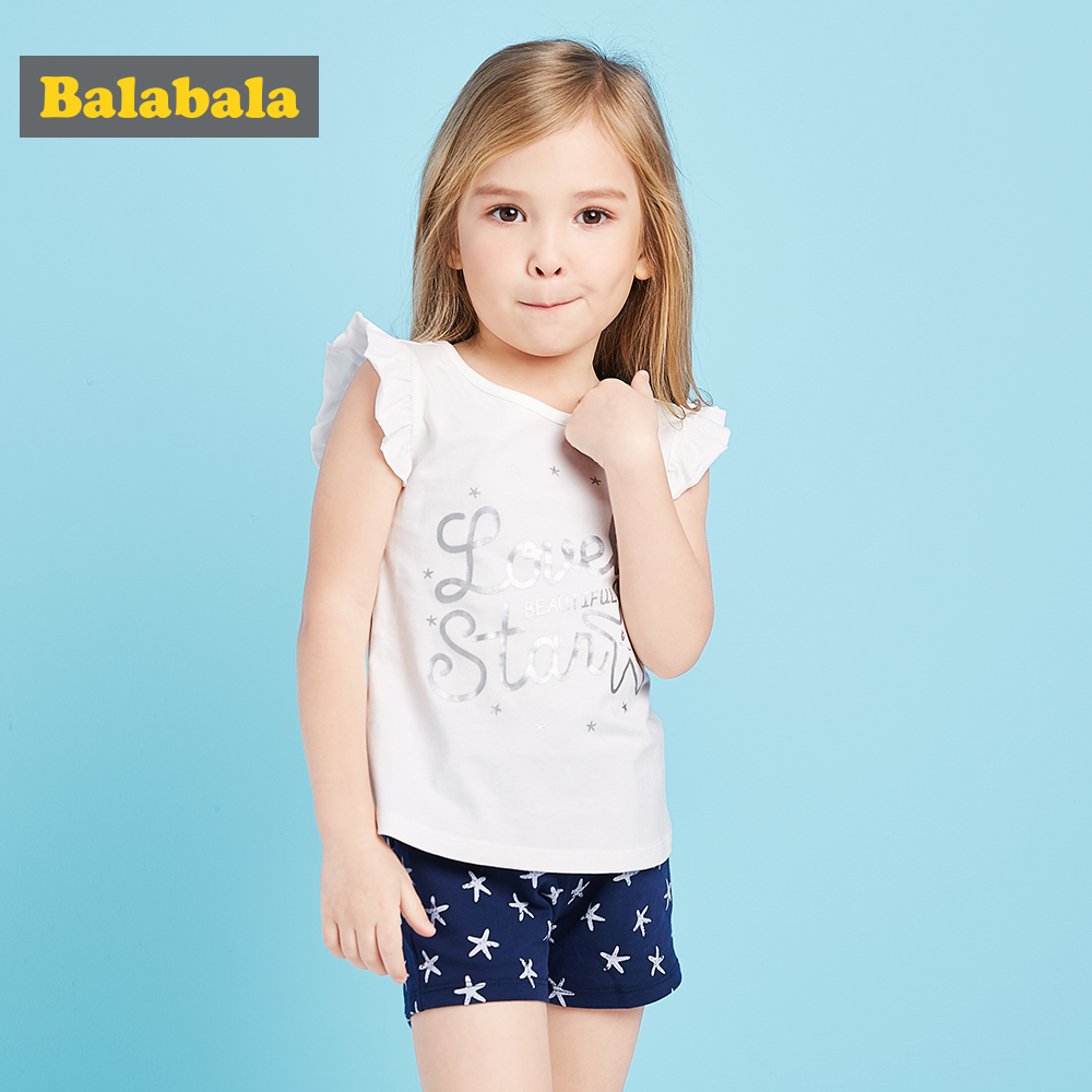 bb0e50ee8 Balabala 2018 summer girls clothes sets toddler fashion Sleeveless ...