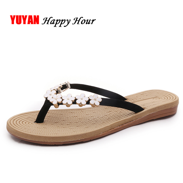 Tiny Flowers Flip Flops Women Beach Slippers 2017 Summer Shoes Fashion Womens -4778