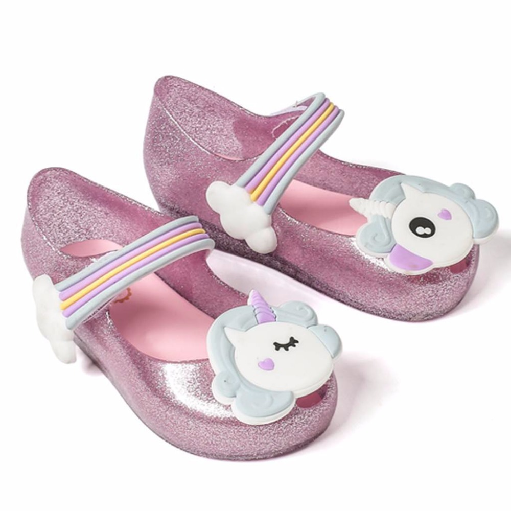 Melissa 2018 Unicorn New Summer For Mini Shoes Girls Dargon Sandals Jelly Shoe Fish Mouth Girl Non-slip Kids Sandal Toddler melissa big bow brazil girls jelly sandals 2018 summer children sandals melissa shoes non slip girls princess sandals