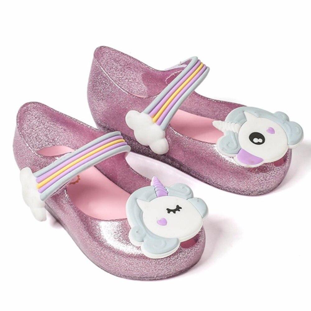 Mini Melissa 2018 Unicorn New Verão Das Sandálias Da Geléia de Sapatos de Geléia Meninas Dargon Boca de Peixe Sapato Menina Não-escorregar Crianças sandália Da Criança