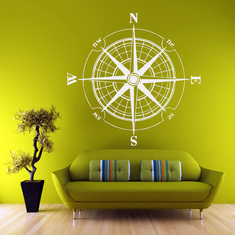 G181 WALL DECAL VINYL STICKER WIND ROSE COMPASS TRAVEL GEOGRAPHY ...