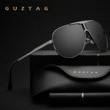 GUZTAG ماركة الموضة الكلاسيكية الاستقطاب النظارات الشمسية الرجال مصمم حملق المتكاملة نظارات نظارات شمسية UV400 للرجال G8026