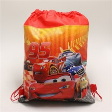 1pcslot Kids Favors Cars Non-Woven Fabric Backpack Birthday Party Decoration Drawstring Gift Bags Baby Shower Supplies 34*27cm