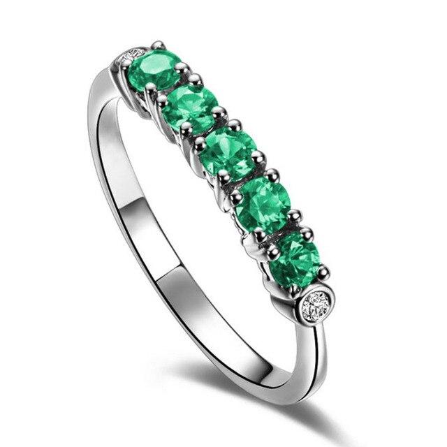 Gemeinsame Natürliche Smaragd Ring 18 Karat Gold Diamant Frauen Hochzeit Ring #ZD_68