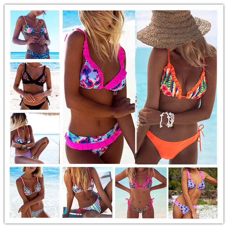 2018 Sexy Bikinis Women Swimsuit Bandage Halter Beach Wear Push Up Bathing suits Print Swimwear Female Brazilian Bikini Set S-XL sexy women print floral bikini set halter crop top hang high neck bikinis set push up swimwear women swimsuit beach bathing suit