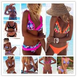 2018 Sexy Bikinis Women Swimsuit Bandage Halter Beach Wear Push Up Bathing suits Print Swimwear Female Brazilian Bikini Set S-XL