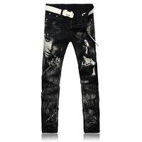 2016 Novos Homens de impressão desenho Colorido ou padrão Discotecas Jeans, Famosa Marca Designer de Moda Jeans calças de Brim Dos Homens, além de-tamanho 28-36