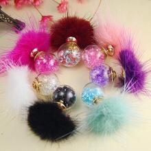 Charmcci New Cute Fashion Faux Mink Fur Ball Stud Earrings for Women Crystal Double side Ear Studs Earing Brincos Gift