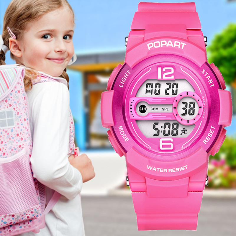 POPART Children Watches 7-Colored Back Light 50m Waterproof Girls Fashion Sport Child Clock LED Digital Watch For Kids Pink 2018 popart children watches for girls boys kids 7 colored back light 50m waterproof sport watch led digital wristwatches child clock