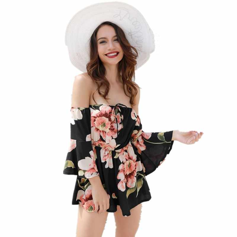9ec3ed03e56 beach rompers 2018 plus size rompers womens jumpsuit with sleeves summer  off shoulder one piece shorts