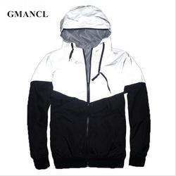 Весна Для мужчин хип-хоп ветровка для скейтбордиста куртки свободные шить отражающий 3M пальто Повседневное с капюшоном Водонепроницаемый