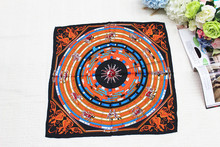 100%silk women Square scarf, Material:twill silk, size:52x52,Thickness 12mm  Orange and black