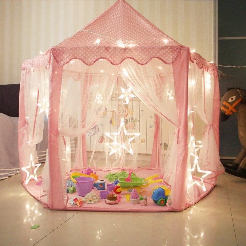 Tente de jeu pliante Portable pour enfants LED lumières brillant maison de jeu princesse rose château tentes en plein air tente de balle cadeau pour les enfants