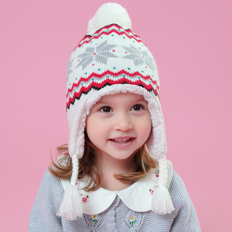bc90f451 baby & kids girls white snowflakes winter fleece earflap beanie hat  children girl fashion casual knitted warm hat caps-in Hats & Caps from  Mother & Kids on ...