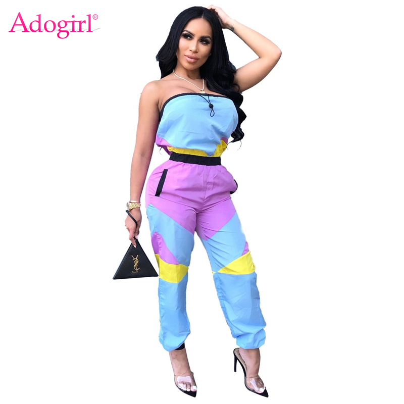 Adogirl Color Patchwork Casual Strapless Jumpsuit Women Fashion Sexy Contrast Color Romper Night Club Bodysuits Streetwear