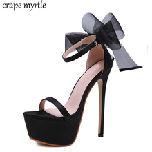 womens sandals summer shoes bow jelly sandals Dance Shoes Super High Heel 17cm Peep Toe Buckle Strap white wedding shoes YMA829