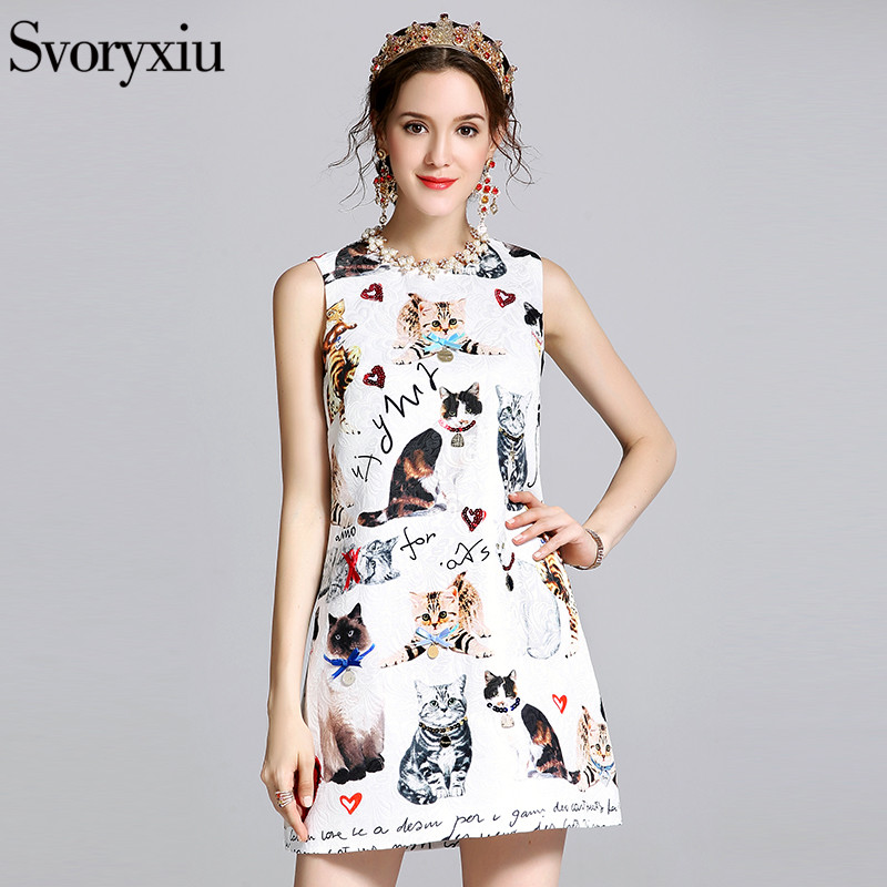 Buy Cheap SVORYXIU 2017 Summer Casual Mini Dress Women's Runway Designer Sleeveless White Kitten Letter Print Sexy Street Dresses