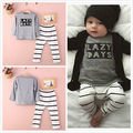 2015 Autumn Toddler Baby Boys letter print Tops Striped Pants Outfit Chidlren Clothing Sets