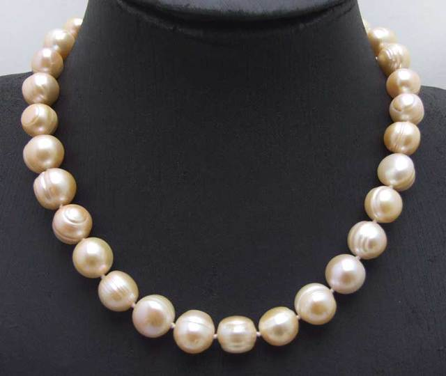 "SALE Big 10-13mm Pink Round Natural freshwater PEARL 17"" Necklace-nec6063 wholesale/retail Free shipping"