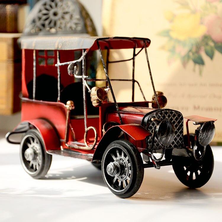Zakka Vintage Car do old Ford Restor Car Tin Toys Gran Torino nostalgic Ornament Handmade Creative Gifts & Crafts