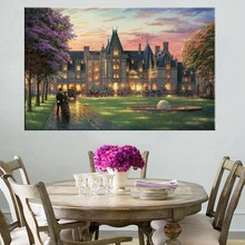 Famous Painting Villa Castle by Thomas Kinkade Landscape Building Giclee Prints for Home Decor Wall Art Unframed