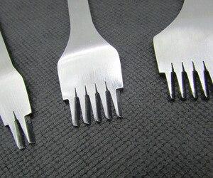 Image 3 - Outil de poinçonnage de cuir à 2/5/10 dents, burin en acier, Style français, fer à poinçonner, outil de poinçonnage de cuir, 2.7/3.0/3.38/3.85mm, 3 pièces/ensemble