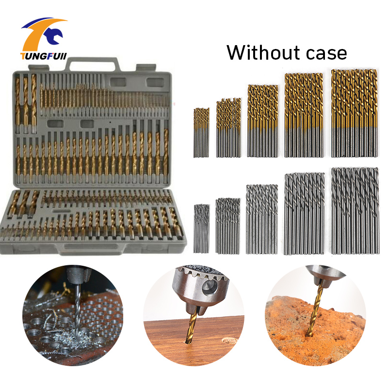 Round Handle HSS Twist Drill Woodworking Drill Bit Set Tools (50Pcs Gold & 50Pcs Silver) 100Pcs 1/1.5/2/2.5/3mm Without Case