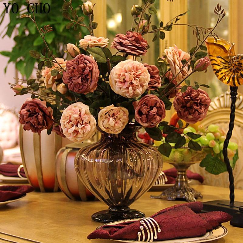 (15 Pcs/lot)) mode grande mode pivoine rose fleur artificielle en soie fleur table à manger fleurs