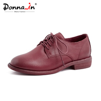 Donna in Flats Oxford Women Genuine Leather Moccasins Shoes Casual Rounded 2019 Spring Lace up Ladies Shoes Black Beige Wine Red
