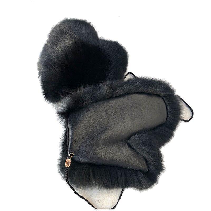 Hiver chaud réel fourrure de renard gants femmes avec de vrais moutons en cuir paume hiver mode 2019 élégant main plus chaud épais filles gants