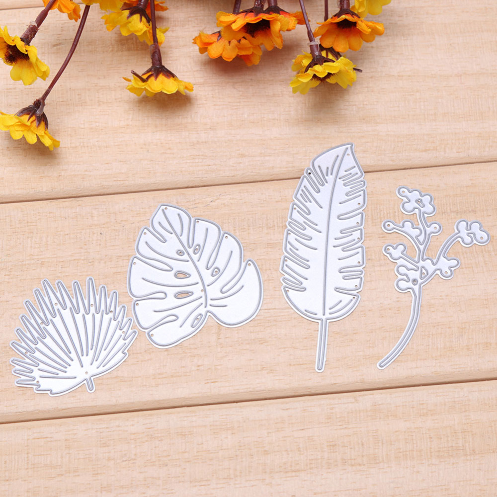 4 Pcs Leaf New Design  Decorative Embossing For DIY Scrapbooking Photo Album Paper Cards Crafts Die Cuts