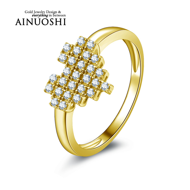 AINUOSHI 10k Yellow Gold Wedding Ring Simulated Diamond Jewelry Aneis Feminino Trendy Heart Shape Lovers Rings Valentines Gift
