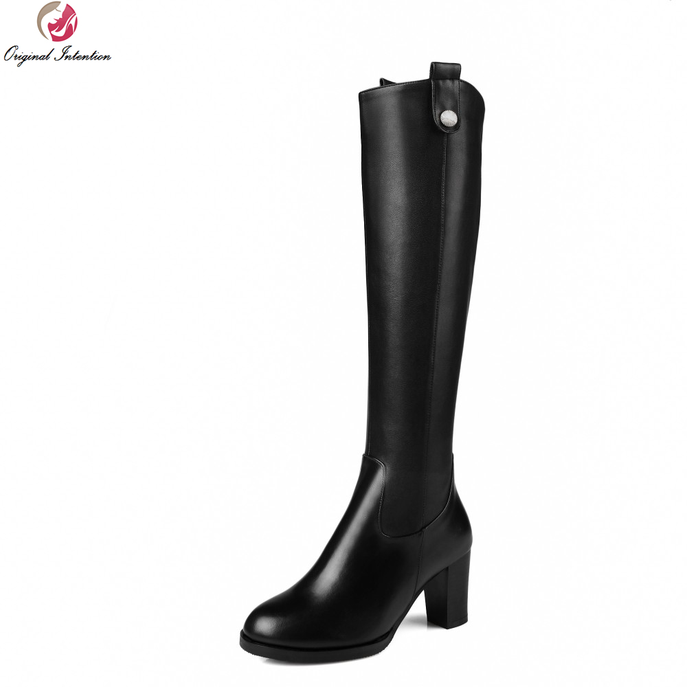 Original Intention New Grace Women Knee High Boots Nice Round Toe Square Heels Boots Popular Black Shoes Woman US Size 3.5-13 original intention nice fashion women knee high boots round toe square heels boots beautiful black shoes woman us size 3 5 13