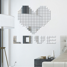 100Pcs Mirror Wall Stickers 3D DIY Acrylic Modern Design Adhesive Sticker Home Party Kids Rooms Decoration