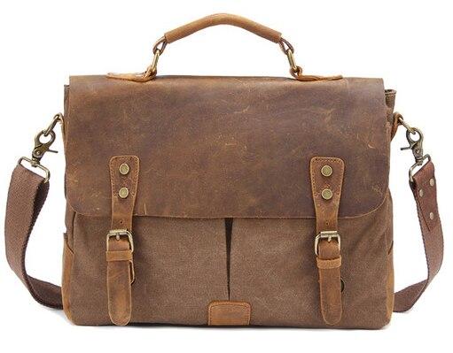 US $38.99 35% OFF|2018 w stylu Vintage wojskowy płótno skóra teczka męska biznes torba płótno teczki torba męska na ramię Crossbody torba|briefcase