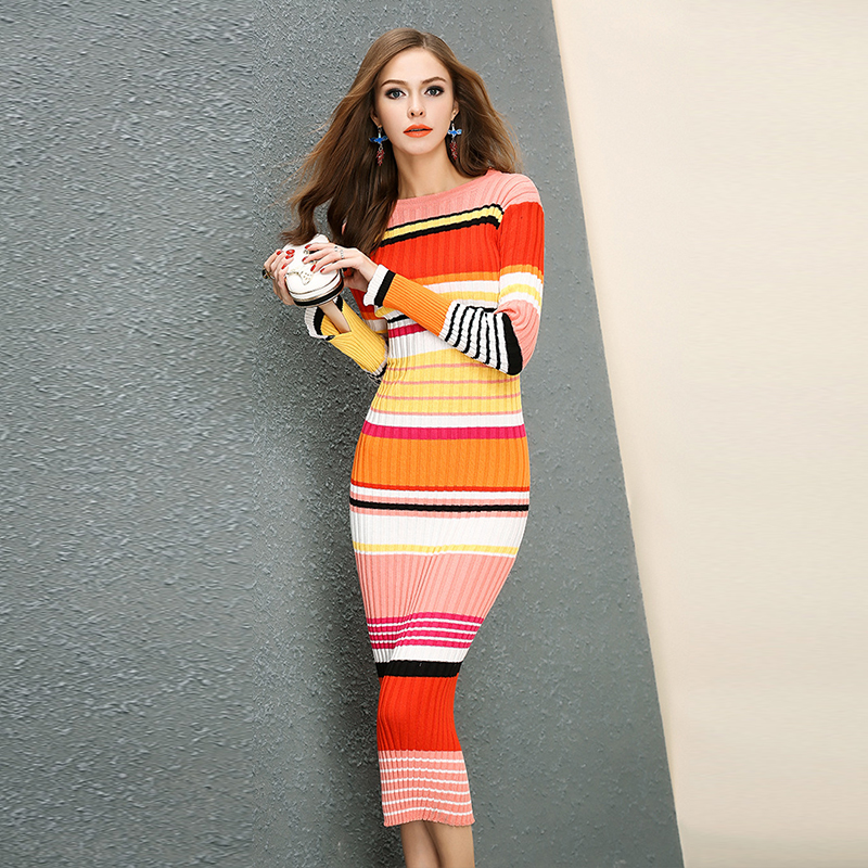 UNIQUEWHO Girls Women Rainbow Striped Long Knitted Sweater Warm Soft Slim  Sweaters Good Elastic Pullovers for 4feb91cf46ce