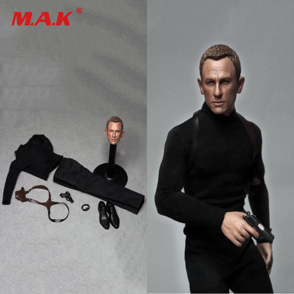 1/6 Scale 12 inches Male Clothes Accessories James Bond Daniel Craig Cloth Suit & Head Sculpt Carving for Man Figure Body 1 6 scale male clothes suit the game of death bruce lee head sculpt
