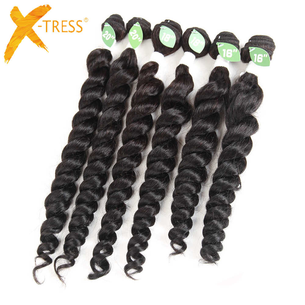 X-TRESS Spiral Curl Hair Weave Bundles 6Pcs/Pack For Full Head 16-20inch Natural Black 1B Blend Synthetic Human Hair Extensions