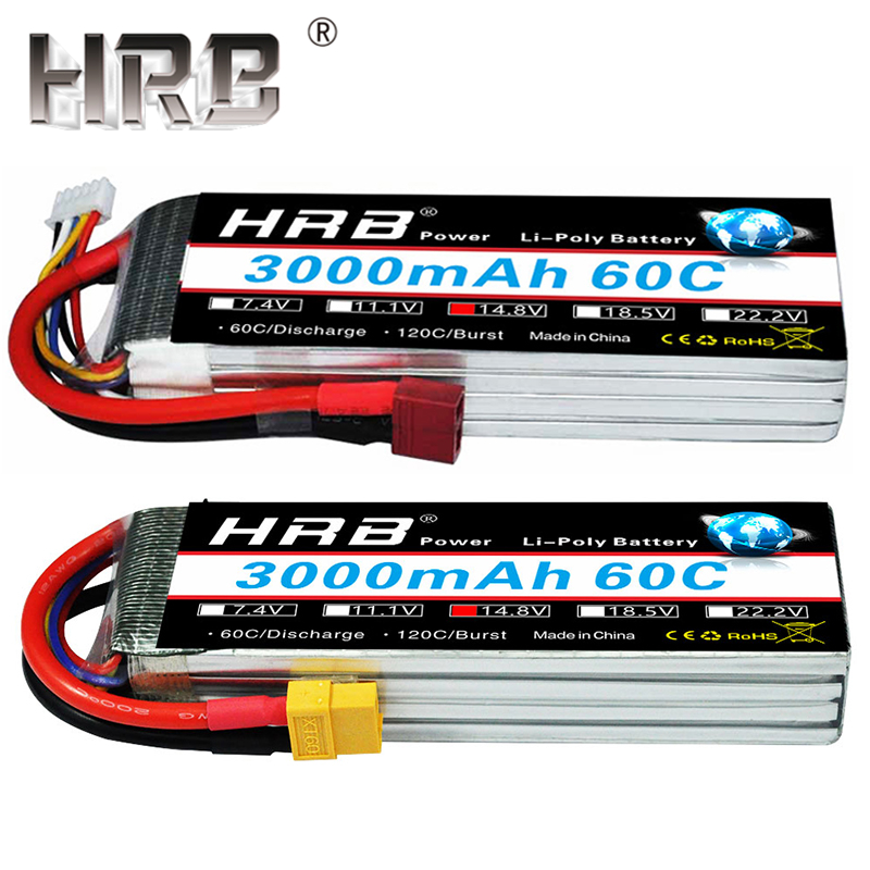 HRB Lipo Batterij 14.8 V 3000 mAh 4 S 60C XT60 EC5 Vrouwelijke Dean T Plug Voor RC Quadcopter Helicopter Vliegtuig Li-Polymeer Drone Onderdelen
