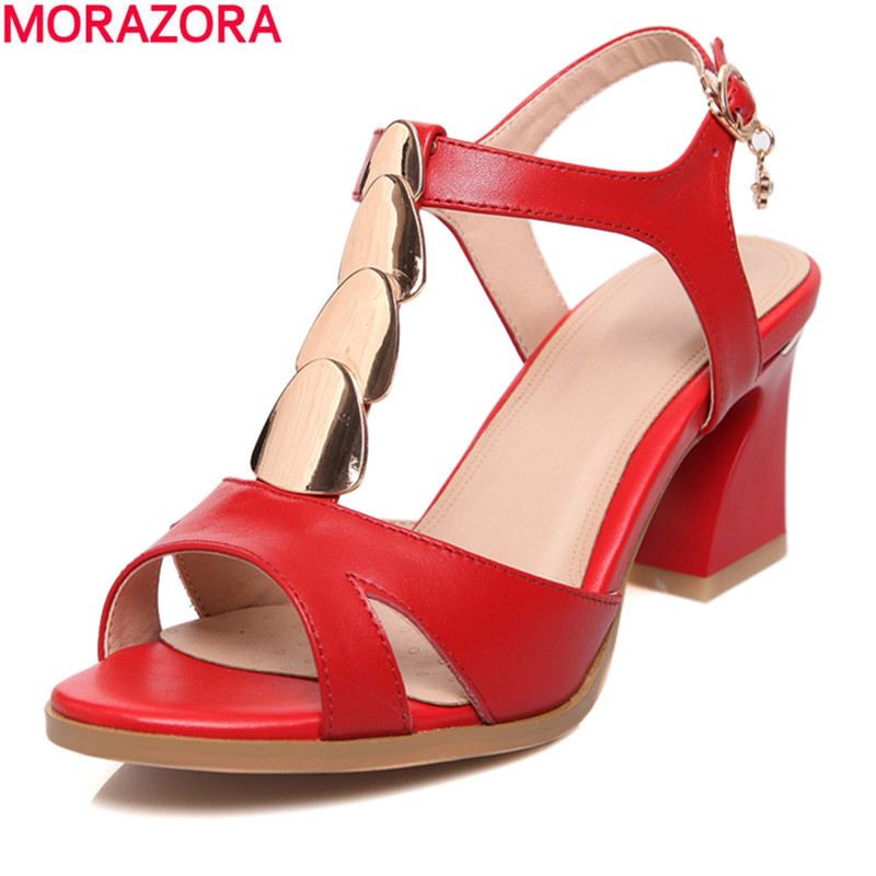 MORAZORA New arrival 2018 summer solid red high quality genuine leather women sandals thick high heels T-strap shoes woman недорго, оригинальная цена