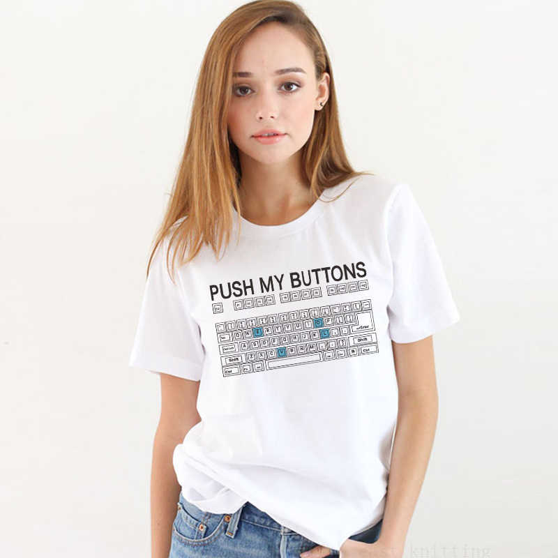 New Arrived White Punk Women T-shirt The Keyboard Printed Short Sleeve Tops Tees T Shirt For Girl