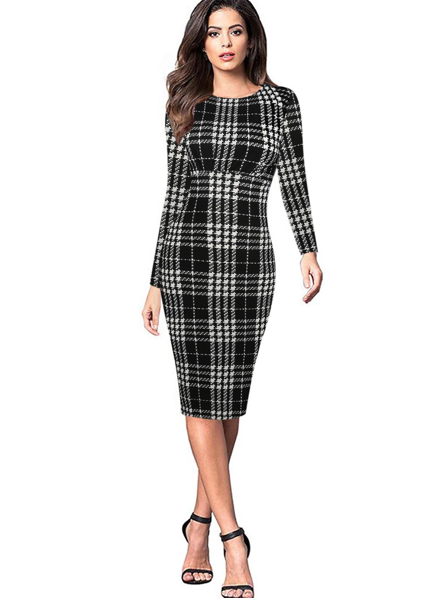 94cc48b110c00 MAYFULL S 2XL QUALITY Women O Neck Full Sleeve Empire Plaid Dress ...