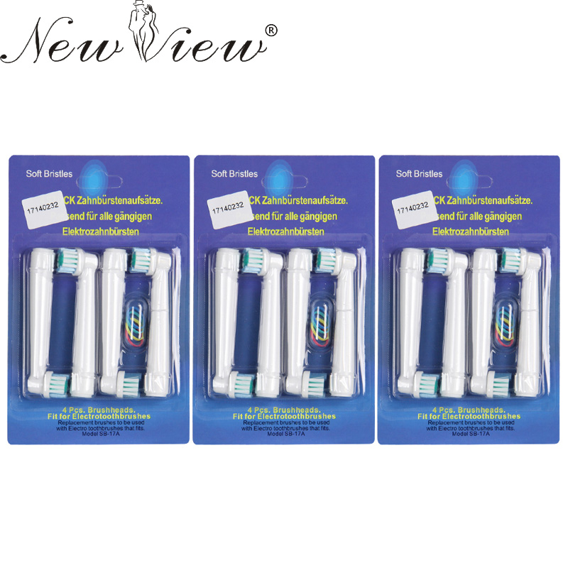 NewView 12Pcs/lot Replacement Electric Toothbrush Heads For Oral B Hygiene Care Clean Electric Tooth Brush EB 17 SB-17A venicare replacement toothbrush heads for philips sonicare e series essence xtreme elite and advance 2 4 6 8pcs lot