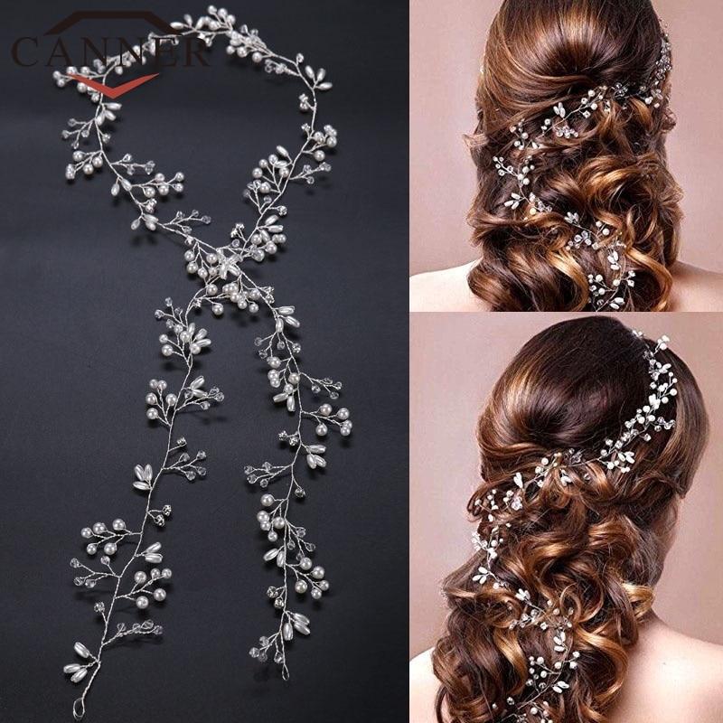 Eindoser Mode Lange Kristall Simulierte Perle Haar Reben Stirnband Hochzeit Braut Haarband Tiara Schmuck Fi