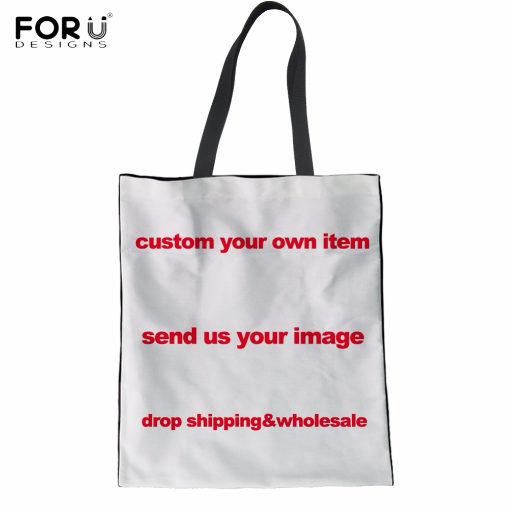 FORUDESIGNS Custom Your Logo Image Photo Picture Print Woman Linen Tote Bags  Reusable Friendly Eco Bags Diy Cloth Shopper Bags f13f2670a4286