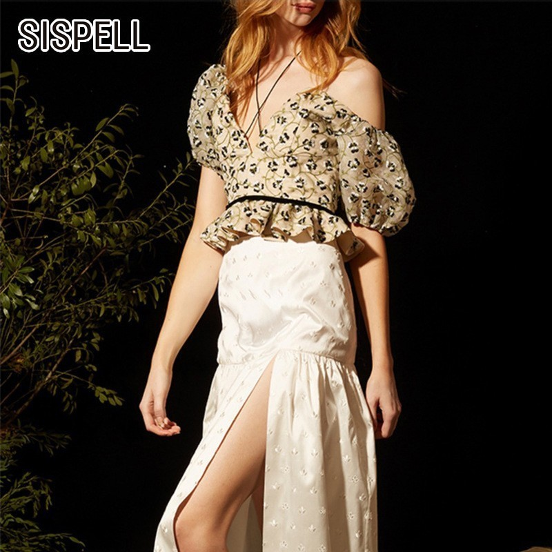 SISPELL coréen Floral broderie hors épaule chemise femmes Slash cou bouffée manches ourlet à volants Blouse Top femme mode nouvel été