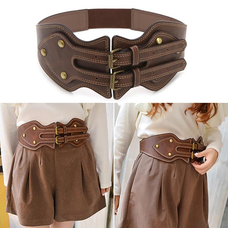 Women's Vintage Faux Leather Elastic Stretch Buckle Wide Waist Cummerbund