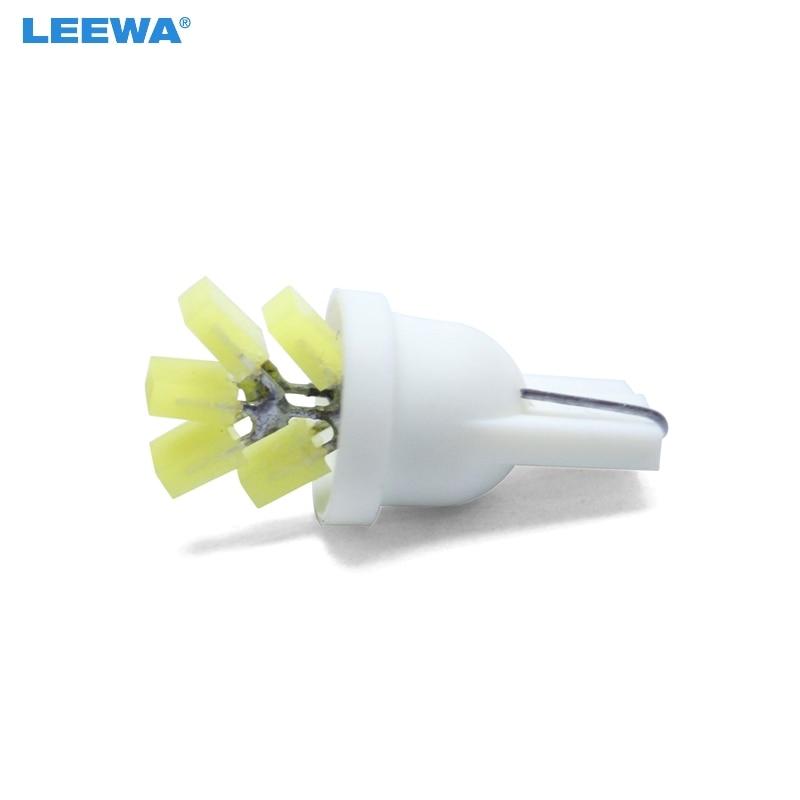 LEEWA 100pcs White Car T10 194 W5W COB 5SMD LED Lights Tree Shapes Car Side Wedge