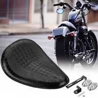 3 Spring Bracket Solo Seat Alligator Leather+Steel For Harley Chopper Bobber Attractive Look Motorcycles Seats & Benches Black