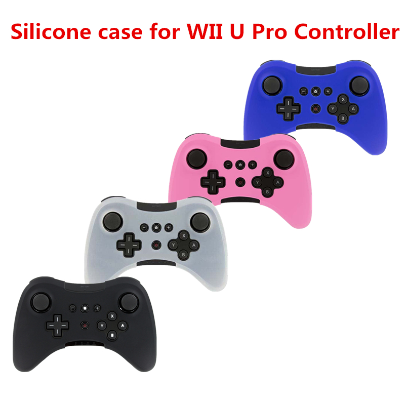 Soft Silicone Thicker Half Skin Case Silicone Protective Joystick Case Cover For WII U Pro Wireless Controller Gamepad Blue Red